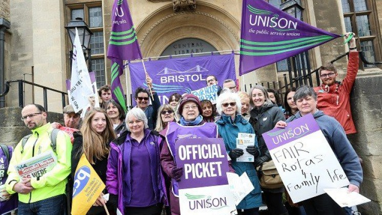 On the pickets at Bristol Library - credit Bristol Post