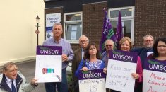 UNISON members rally outside Thornbury library