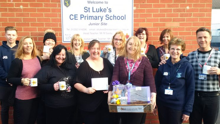 Support staff celebrating at St Luke's school