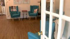 An empty day room at a care home